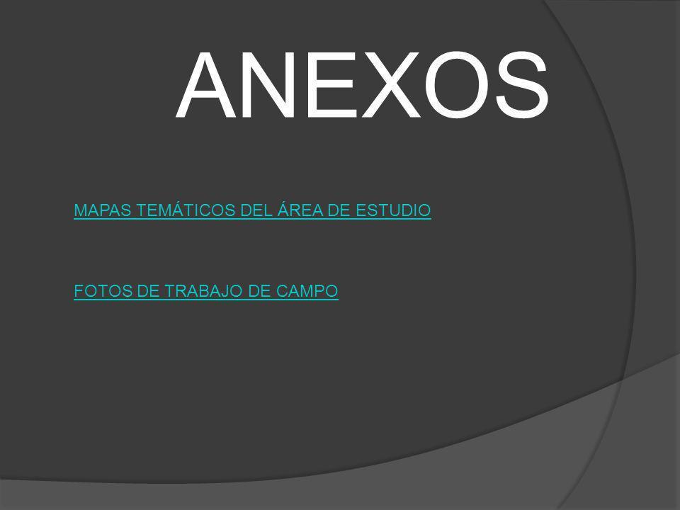 ANEXOS MAPAS TEMÁTICOS DEL ÁREA DE ESTUDIO FOTOS DE TRABAJO DE CAMPO