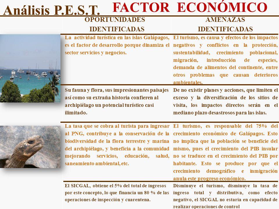 FACTOR ECONÓMICO Análisis P.E.S.T. OPORTUNIDADES IDENTIFICADAS