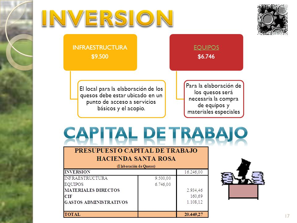 INVERSION CAPITAL DE TRABAJO INFRAESTRUCTURA $9.500