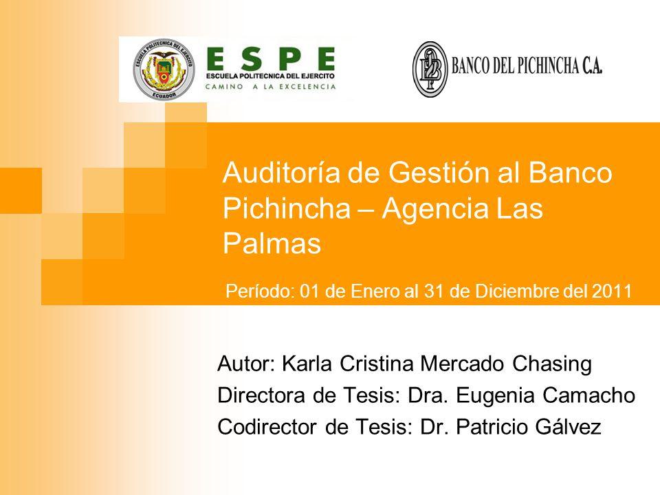 Auditoría de Gestión al Banco Pichincha – Agencia Las Palmas