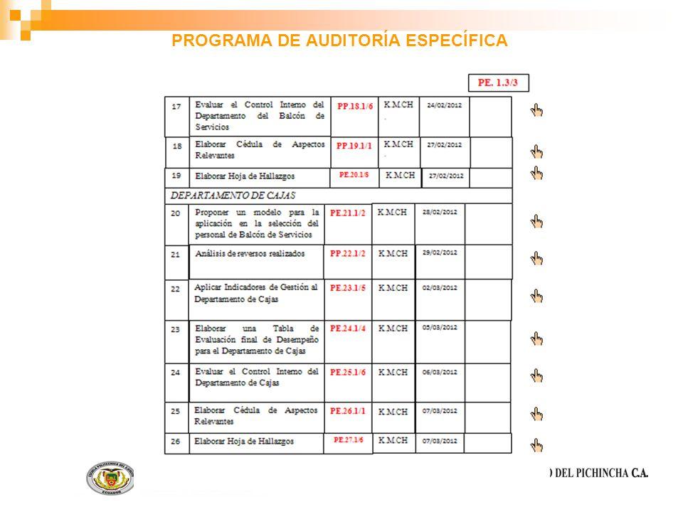 PROGRAMA DE AUDITORÍA ESPECÍFICA