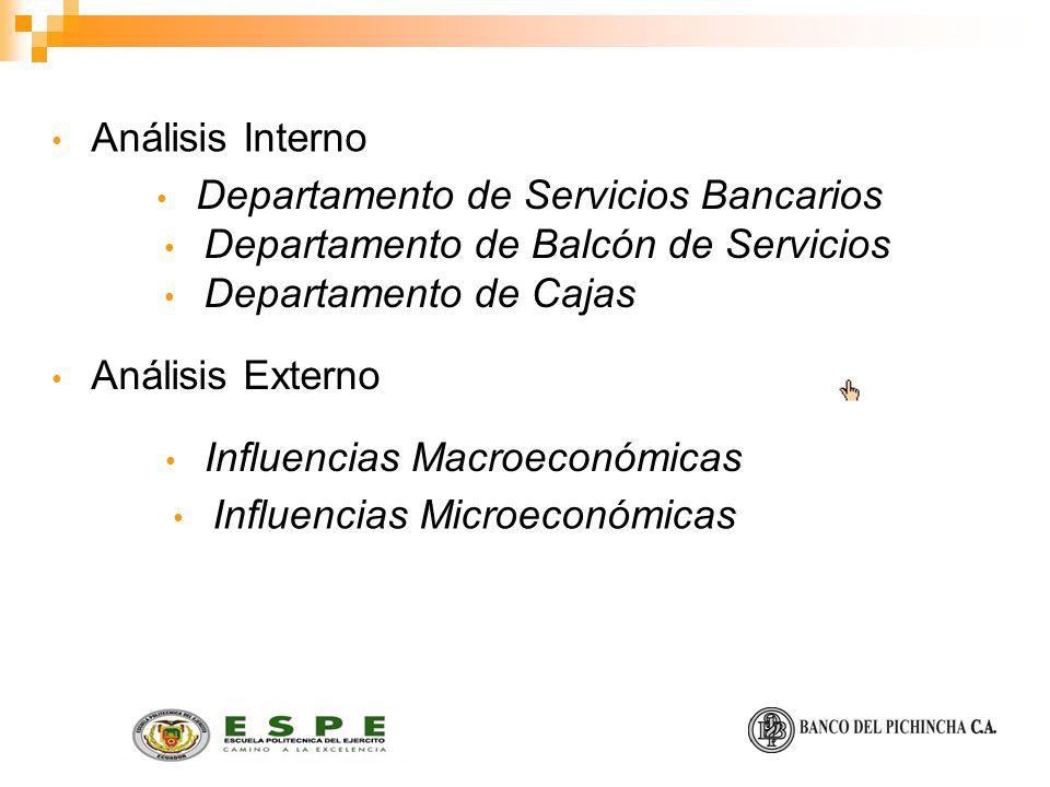 Análisis Interno Departamento de Servicios Bancarios. Departamento de Balcón de Servicios. Departamento de Cajas.