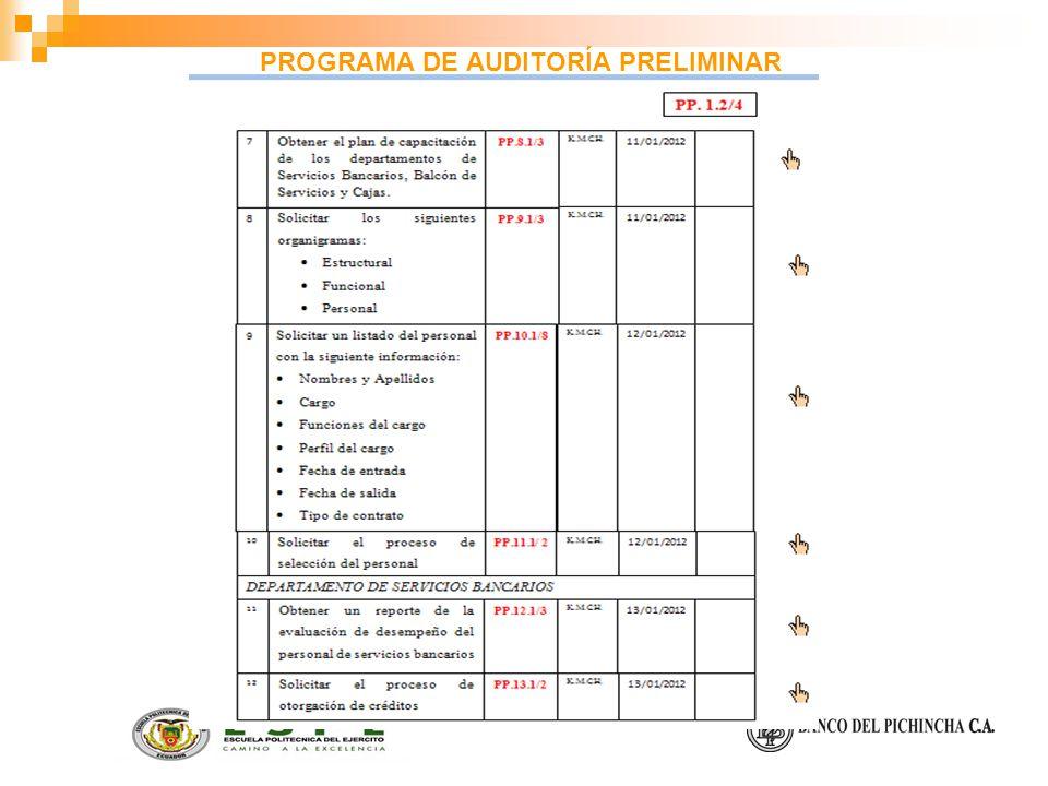 PROGRAMA DE AUDITORÍA PRELIMINAR