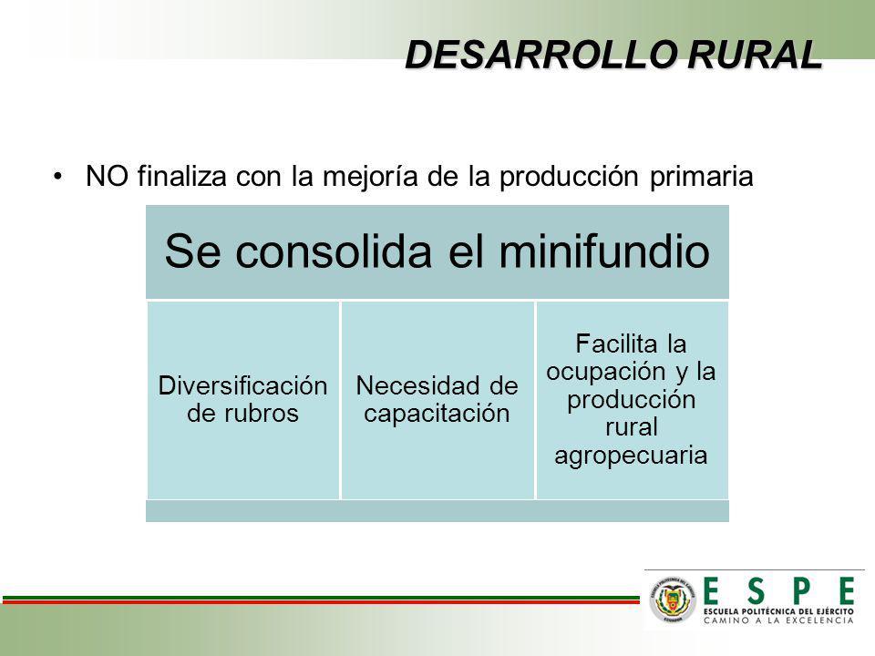 DESARROLLO RURAL NO finaliza con la mejoría de la producción primaria