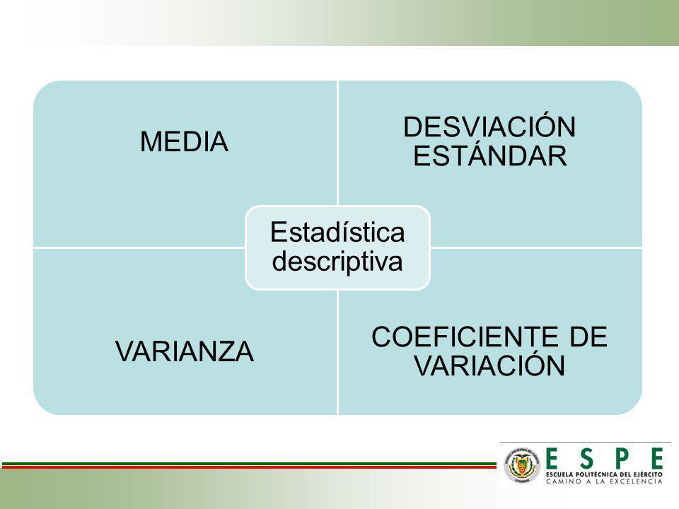 Estadística descriptiva MEDIA DESVIACIÓN ESTÁNDAR VARIANZA