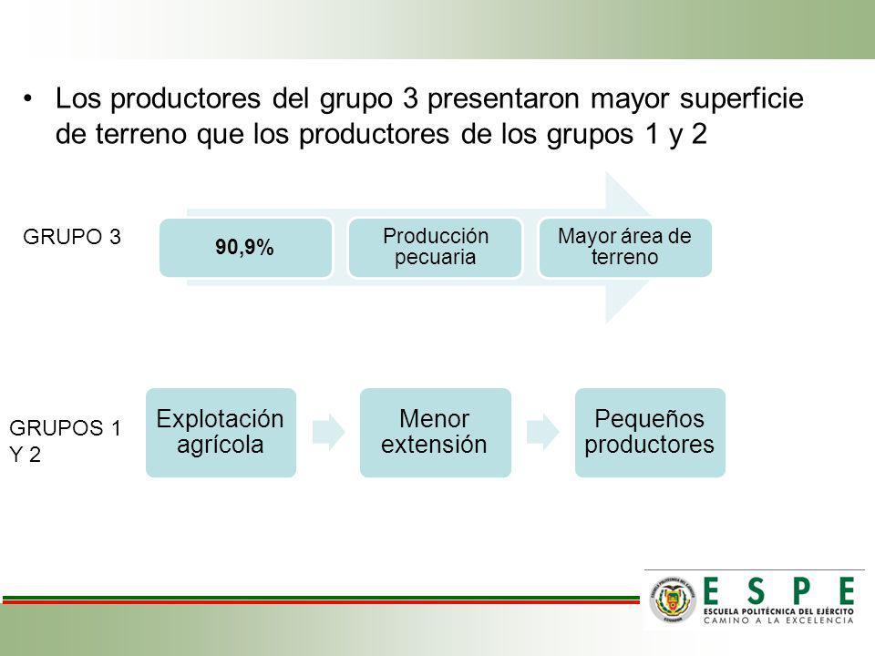 Los productores del grupo 3 presentaron mayor superficie de terreno que los productores de los grupos 1 y 2