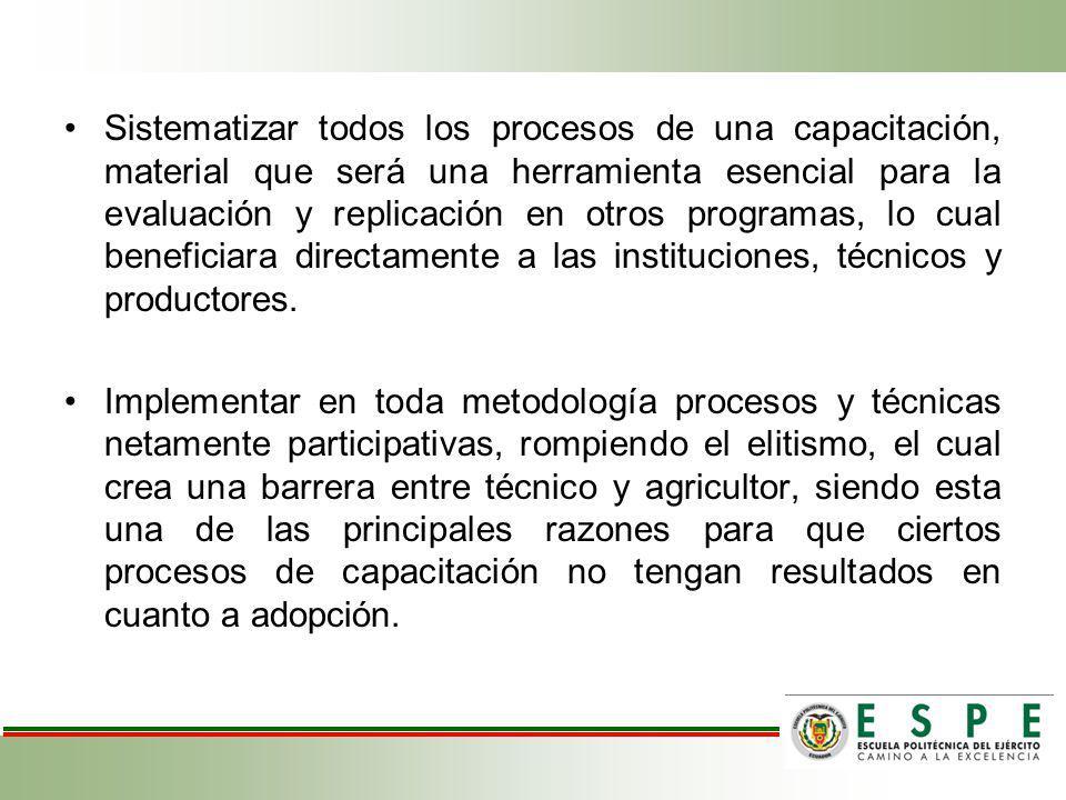 Sistematizar todos los procesos de una capacitación, material que será una herramienta esencial para la evaluación y replicación en otros programas, lo cual beneficiara directamente a las instituciones, técnicos y productores.