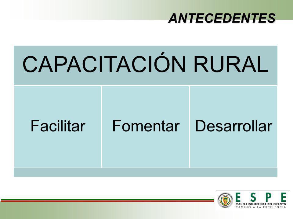 ANTECEDENTES CAPACITACIÓN RURAL Facilitar Fomentar Desarrollar