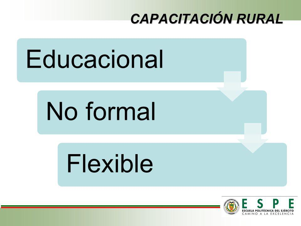 CAPACITACIÓN RURAL Educacional No formal Flexible