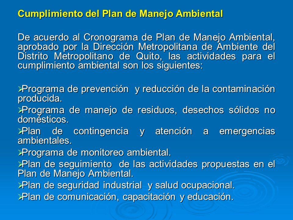 Cumplimiento del Plan de Manejo Ambiental