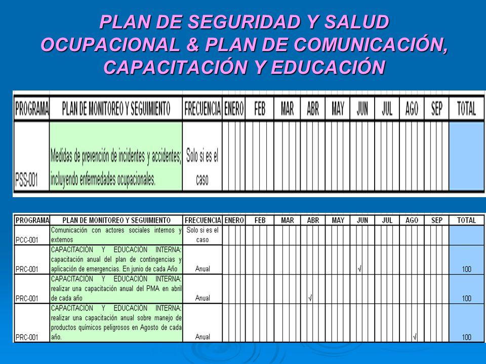 PLAN DE SEGURIDAD Y SALUD OCUPACIONAL & PLAN DE COMUNICACIÓN, CAPACITACIÓN Y EDUCACIÓN