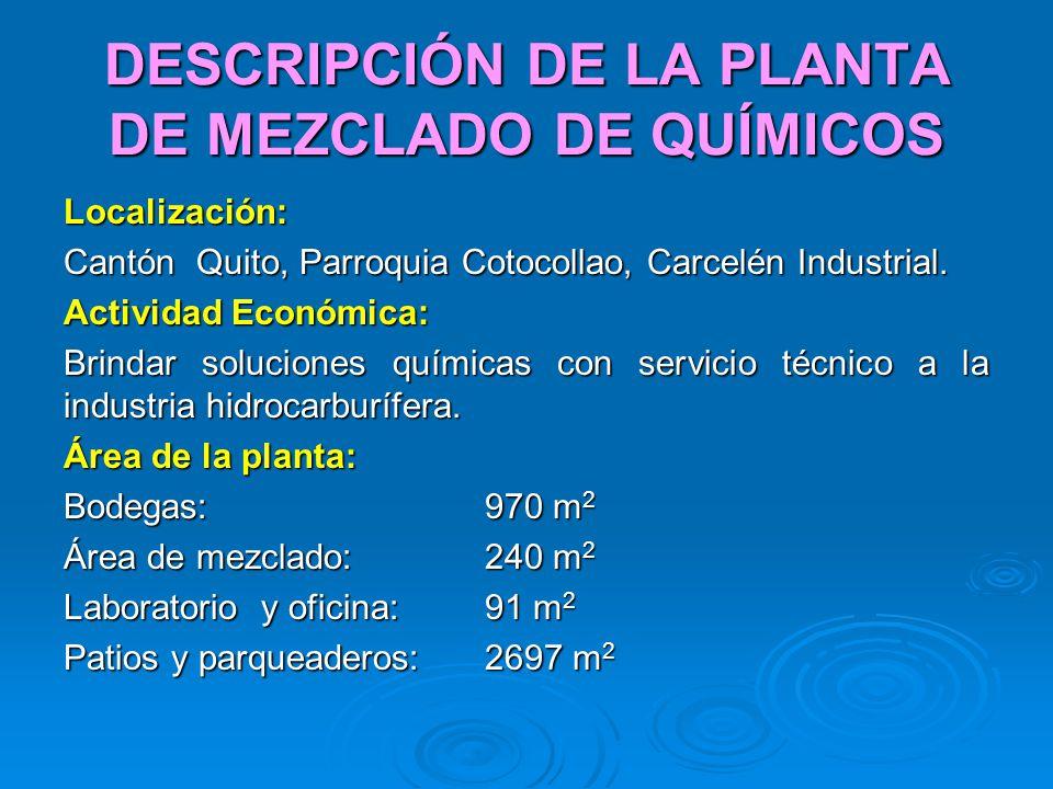 DESCRIPCIÓN DE LA PLANTA DE MEZCLADO DE QUÍMICOS