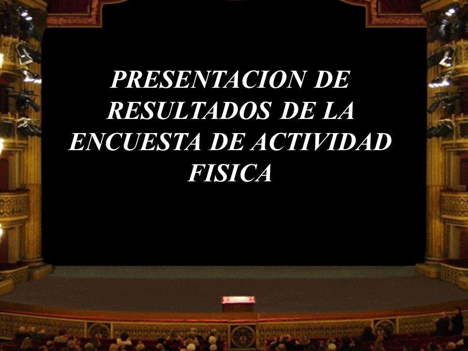 PRESENTACION DE RESULTADOS DE LA ENCUESTA DE ACTIVIDAD FISICA