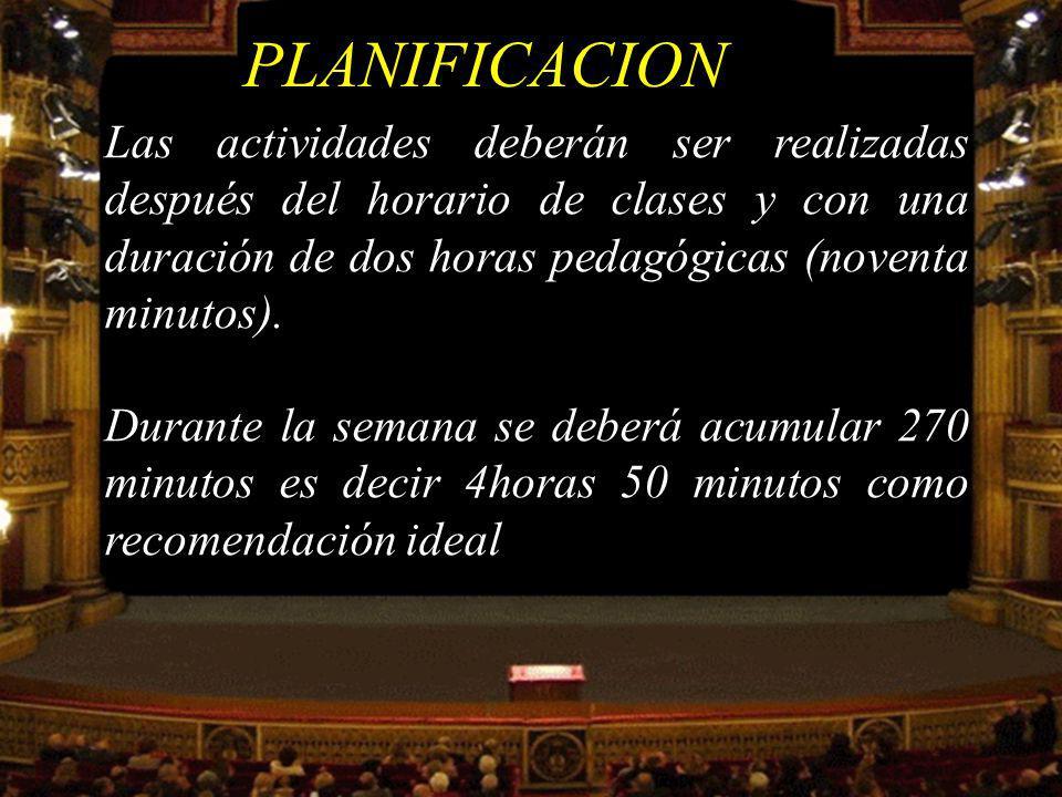 PLANIFICACION Las actividades deberán ser realizadas después del horario de clases y con una duración de dos horas pedagógicas (noventa minutos).