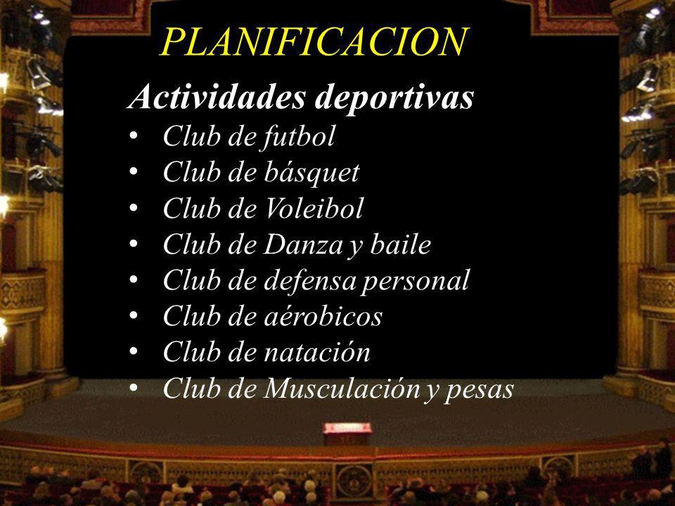 PLANIFICACION Club de futbol Club de básquet Club de Voleibol