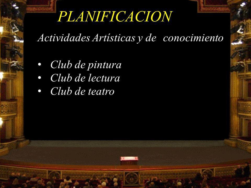 PLANIFICACION Actividades Artísticas y de conocimiento Club de pintura