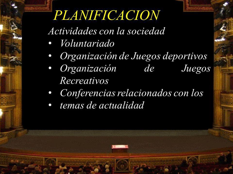 PLANIFICACION Actividades con la sociedad Voluntariado