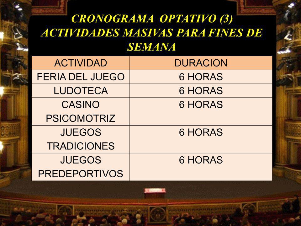 CRONOGRAMA OPTATIVO (3) ACTIVIDADES MASIVAS PARA FINES DE SEMANA