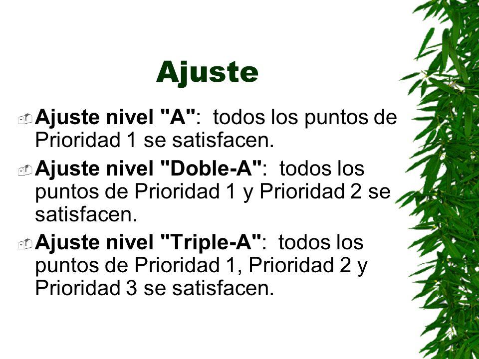 AjusteAjuste nivel A : todos los puntos de Prioridad 1 se satisfacen.