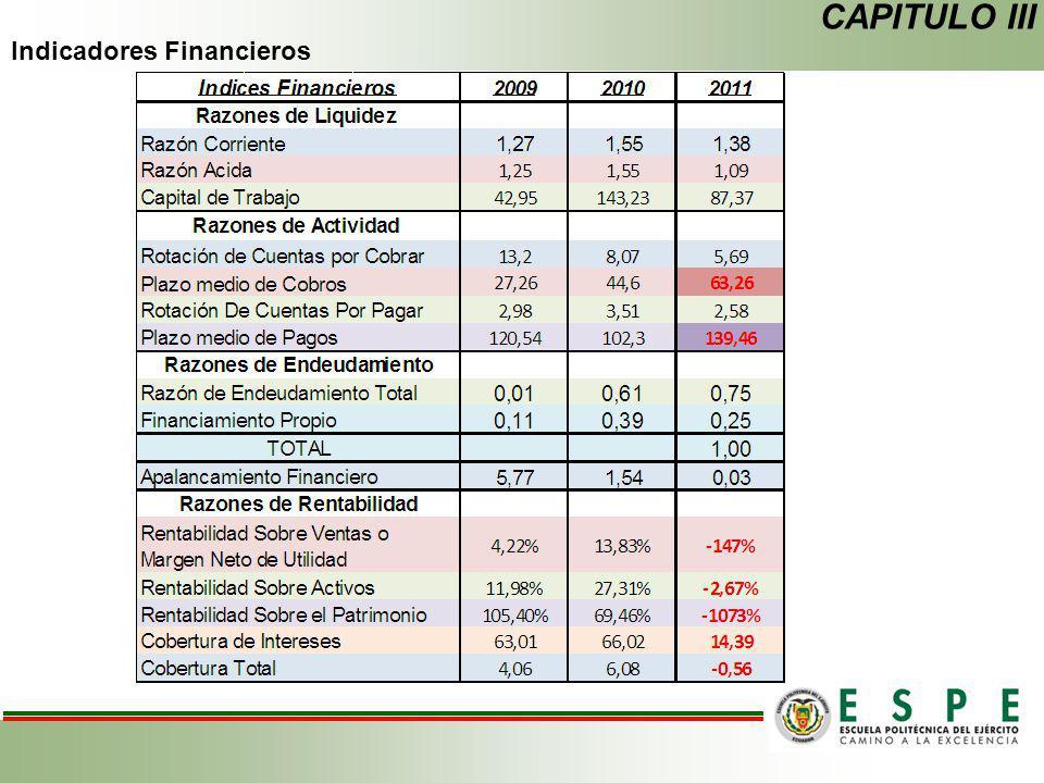 CAPITULO III Indicadores Financieros