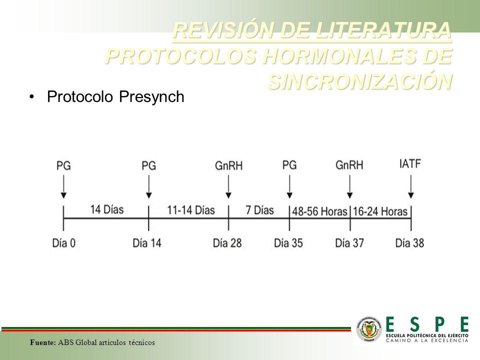 REVISIÓN DE LITERATURA PROTOCOLOS HORMONALES DE SINCRONIZACIÓN