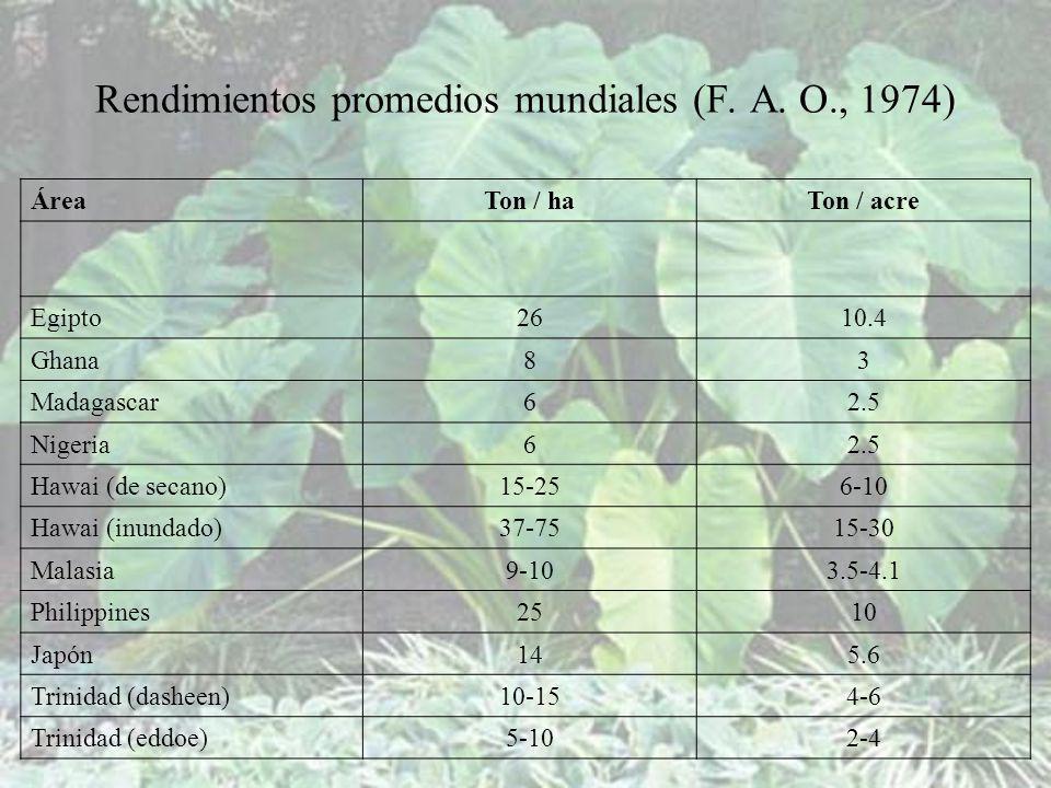 Rendimientos promedios mundiales (F. A. O., 1974)
