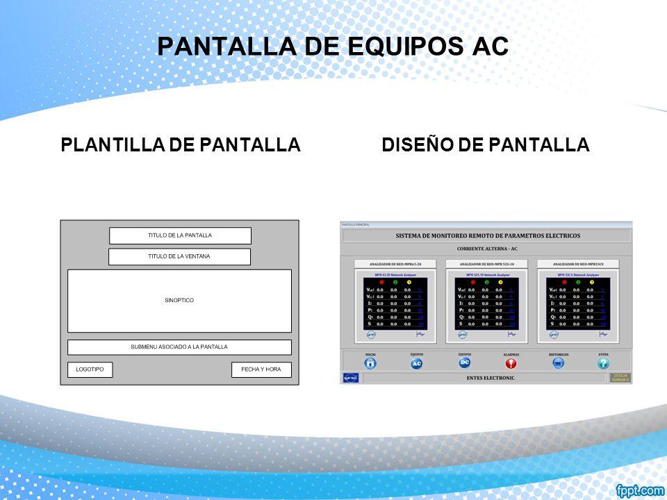 PANTALLA DE EQUIPOS AC PLANTILLA DE PANTALLA DISEÑO DE PANTALLA