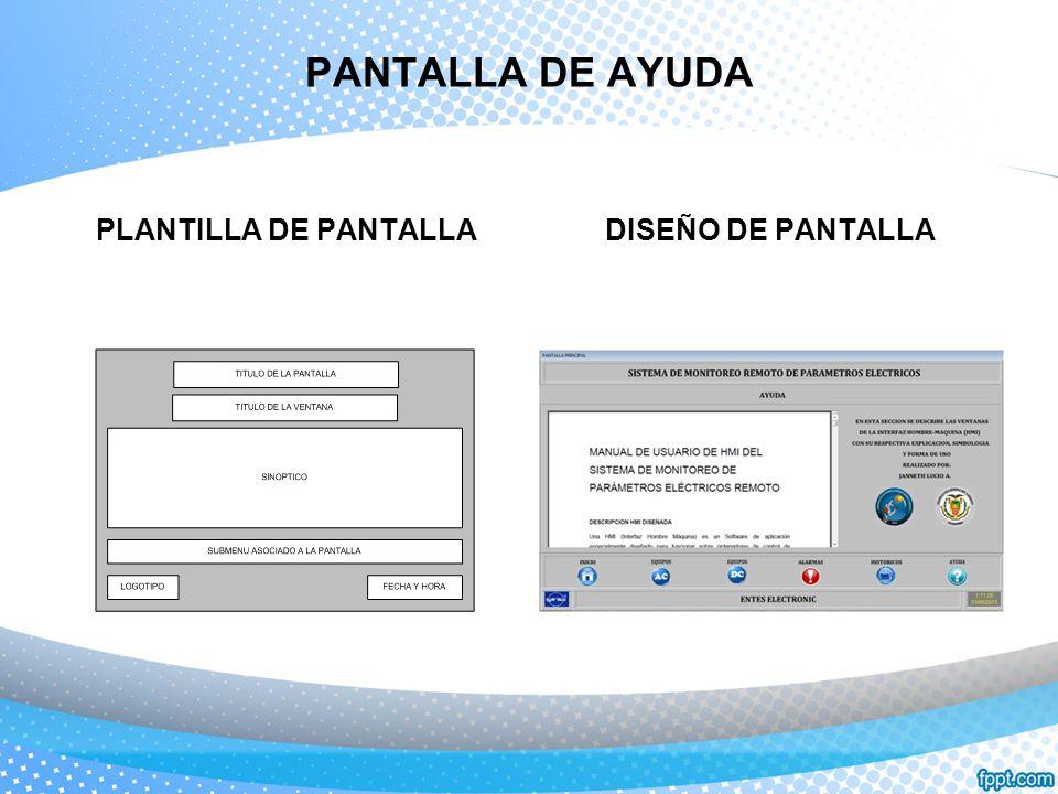 PANTALLA DE AYUDA PLANTILLA DE PANTALLA DISEÑO DE PANTALLA