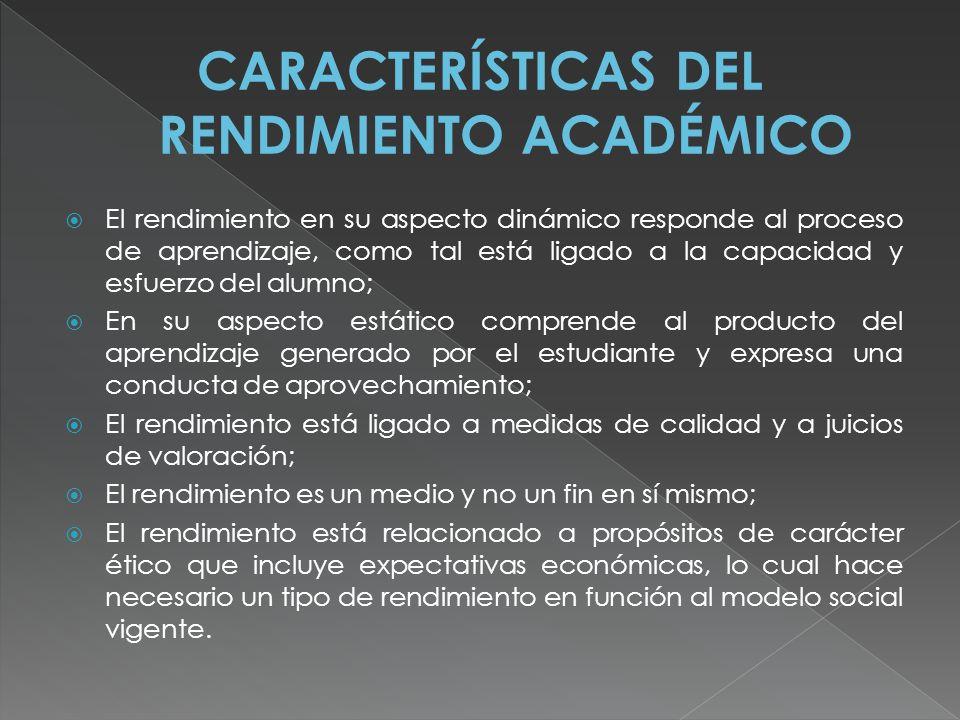 CARACTERÍSTICAS DEL RENDIMIENTO ACADÉMICO