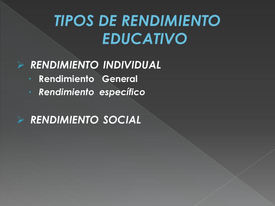 TIPOS DE RENDIMIENTO EDUCATIVO
