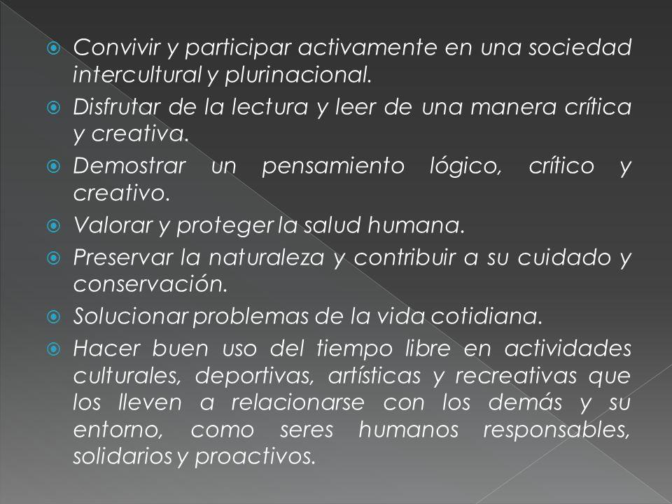 Convivir y participar activamente en una sociedad intercultural y plurinacional.