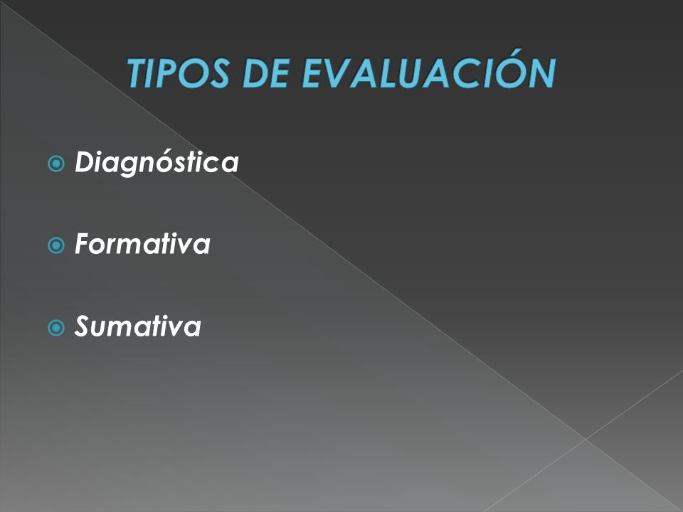 TIPOS DE EVALUACIÓN Diagnóstica Formativa Sumativa