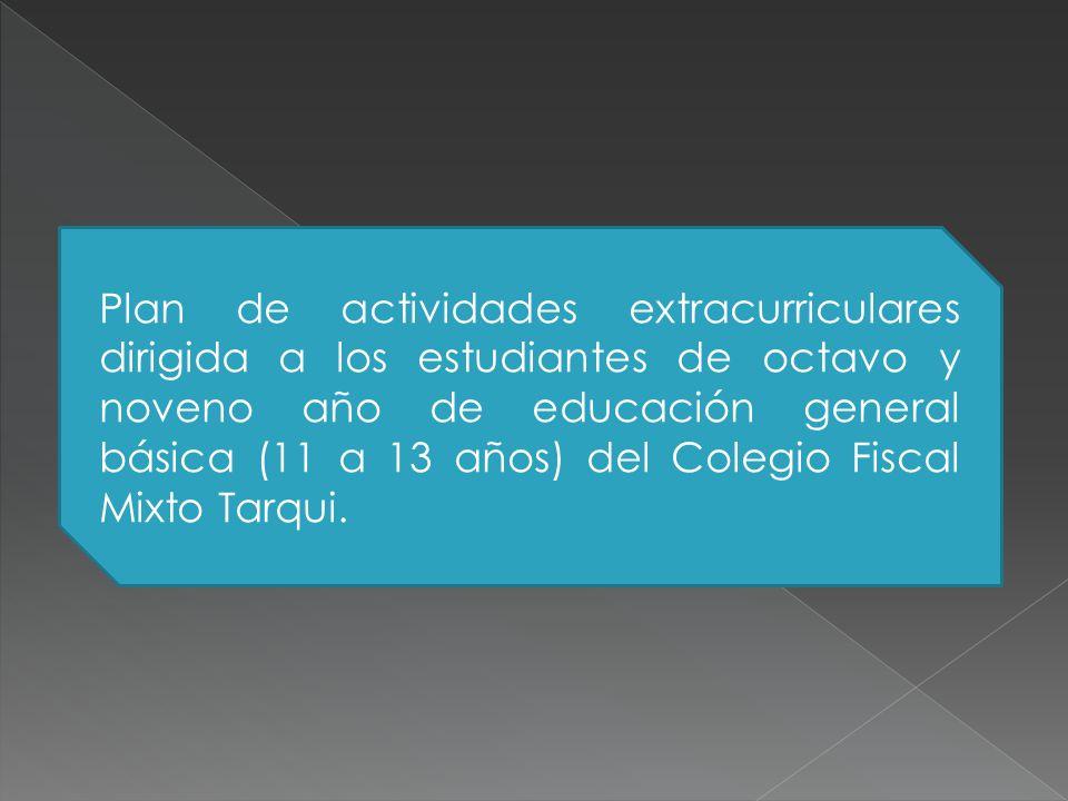 Plan de actividades extracurriculares dirigida a los estudiantes de octavo y noveno año de educación general básica (11 a 13 años) del Colegio Fiscal Mixto Tarqui.
