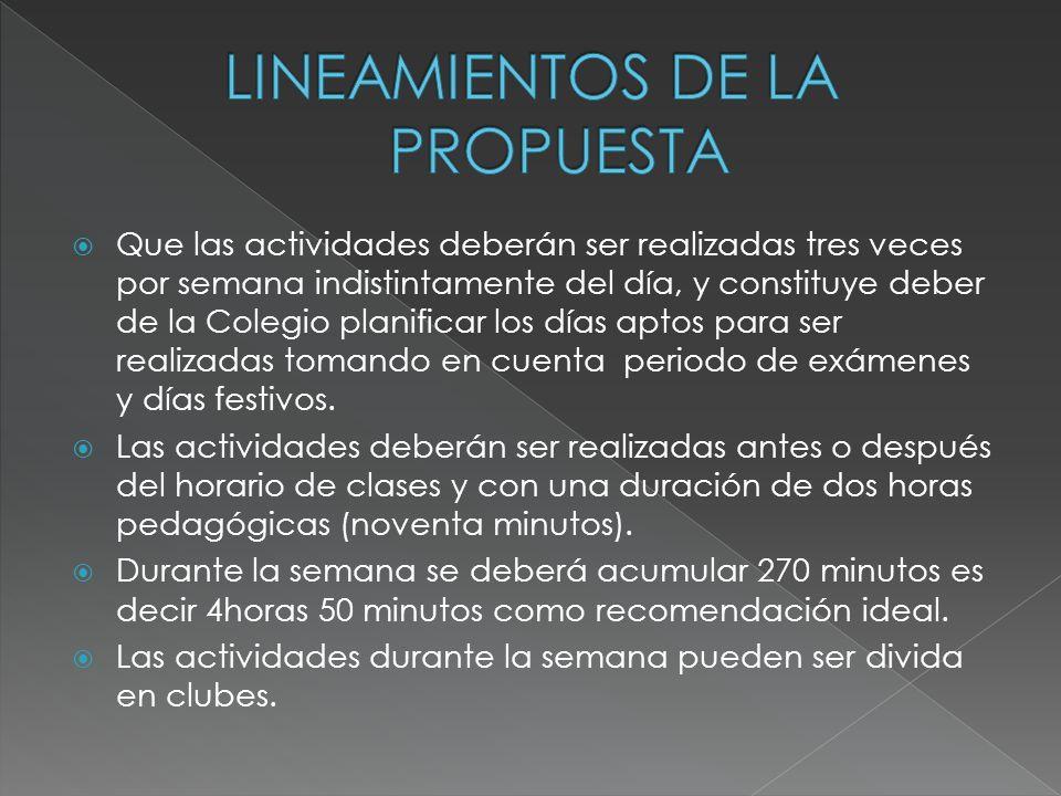 LINEAMIENTOS DE LA PROPUESTA