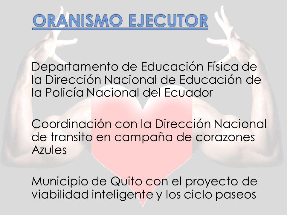 ORANISMO EJECUTOR Departamento de Educación Física de la Dirección Nacional de Educación de la Policía Nacional del Ecuador.