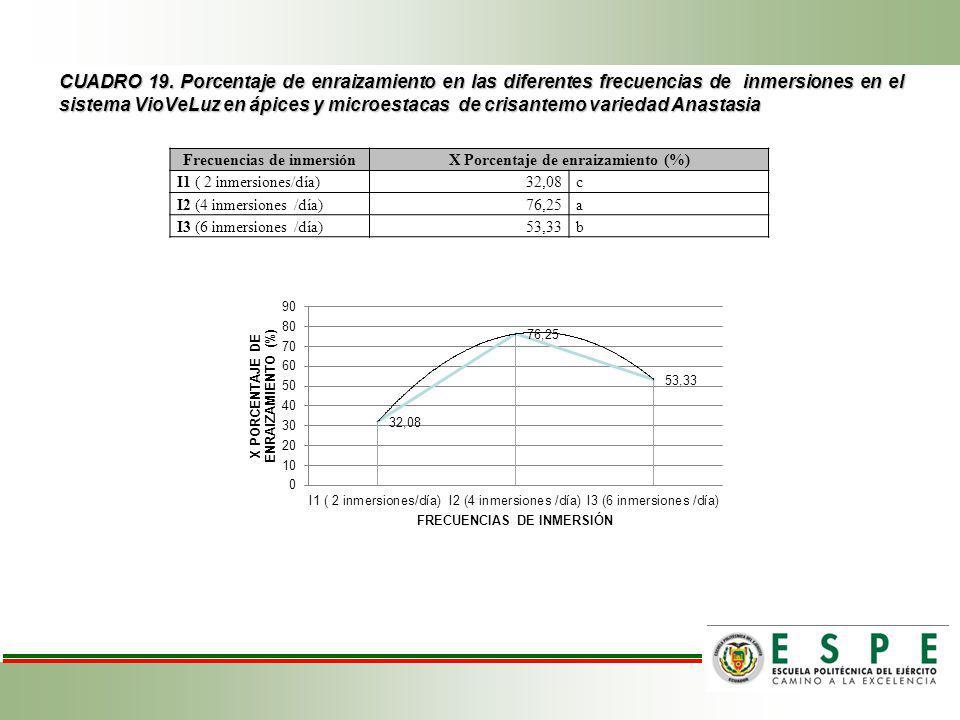 Frecuencias de inmersión X Porcentaje de enraizamiento (%)