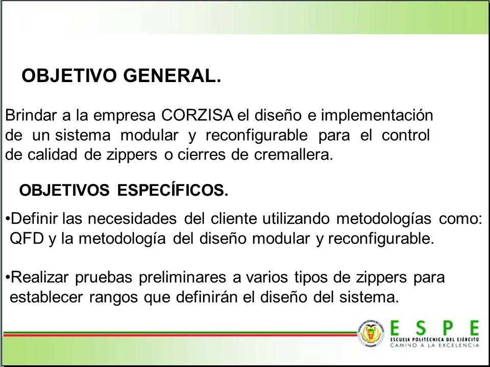 OBJETIVO GENERAL. Brindar a la empresa CORZISA el diseño e implementación. de un sistema modular y reconfigurable para el control.