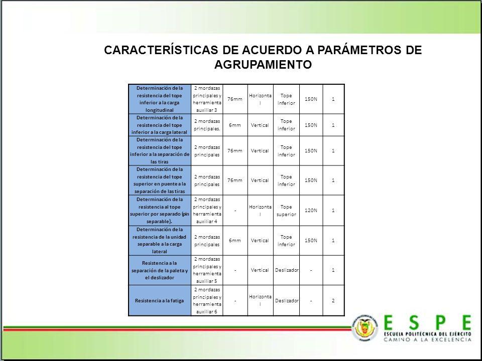 CARACTERÍSTICAS DE ACUERDO A PARÁMETROS DE AGRUPAMIENTO