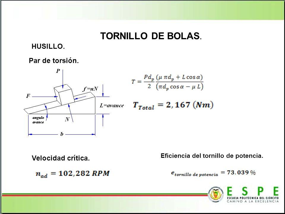 TORNILLO DE BOLAS. HUSILLO. Par de torsión. Velocidad crítica.