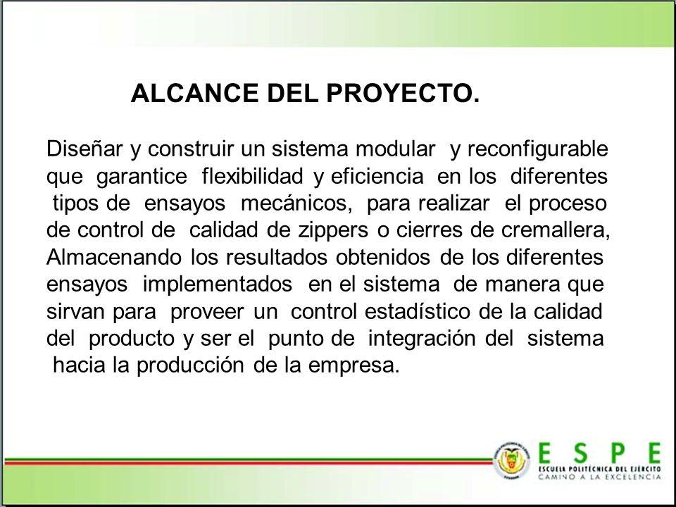 ALCANCE DEL PROYECTO. Diseñar y construir un sistema modular y reconfigurable. que garantice flexibilidad y eficiencia en los diferentes.