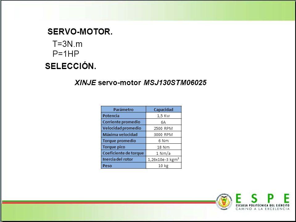 SERVO-MOTOR. T=3N.m P=1HP SELECCIÓN. XINJE servo-motor MSJ130STM06025