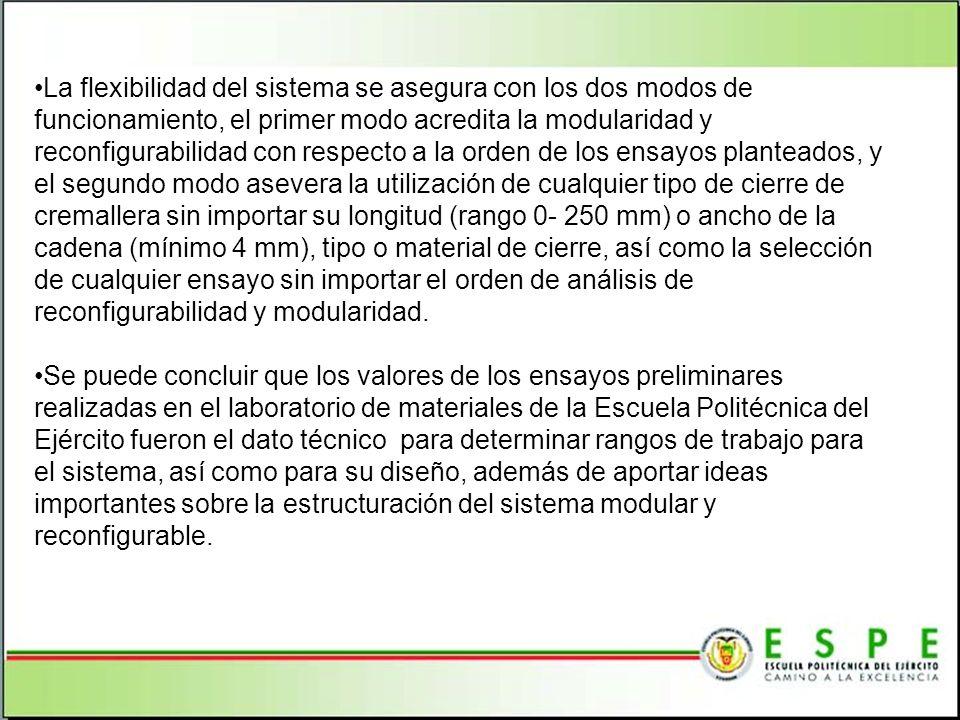 La flexibilidad del sistema se asegura con los dos modos de funcionamiento, el primer modo acredita la modularidad y reconfigurabilidad con respecto a la orden de los ensayos planteados, y el segundo modo asevera la utilización de cualquier tipo de cierre de cremallera sin importar su longitud (rango 0- 250 mm) o ancho de la cadena (mínimo 4 mm), tipo o material de cierre, así como la selección de cualquier ensayo sin importar el orden de análisis de reconfigurabilidad y modularidad.