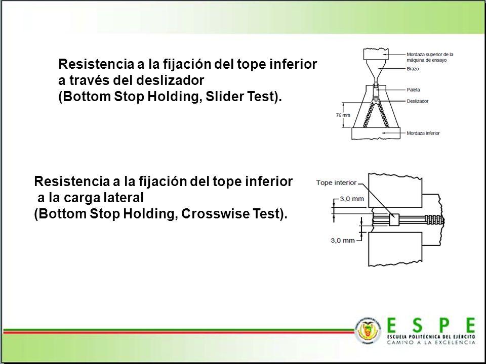 Resistencia a la fijación del tope inferior a través del deslizador