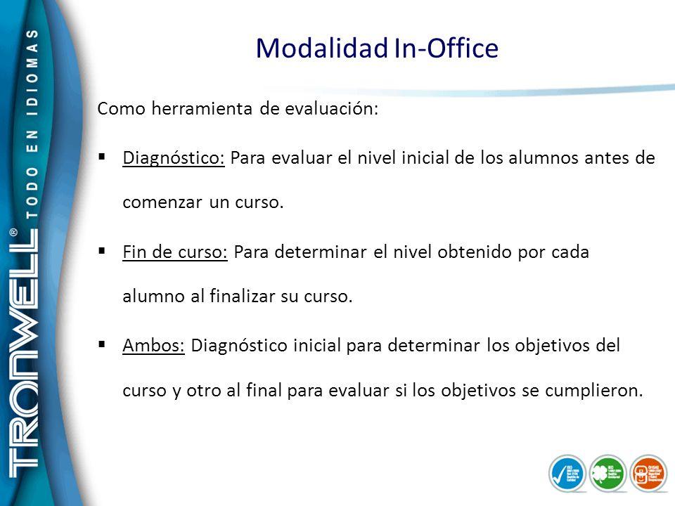 Modalidad In-Office Como herramienta de evaluación: