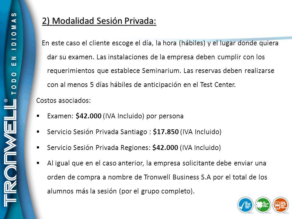 2) Modalidad Sesión Privada: