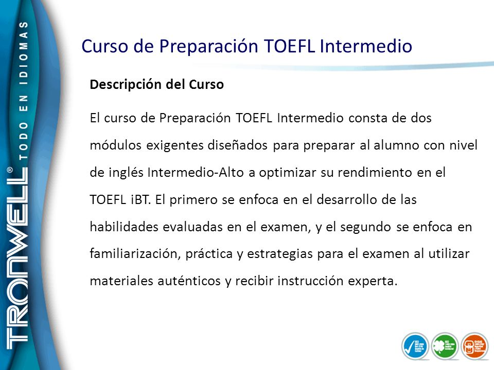 Curso de Preparación TOEFL Intermedio