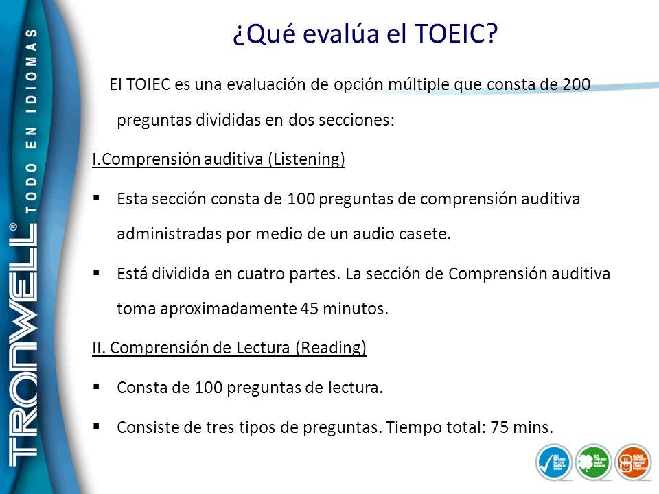¿Qué evalúa el TOEIC I.Comprensión auditiva (Listening)