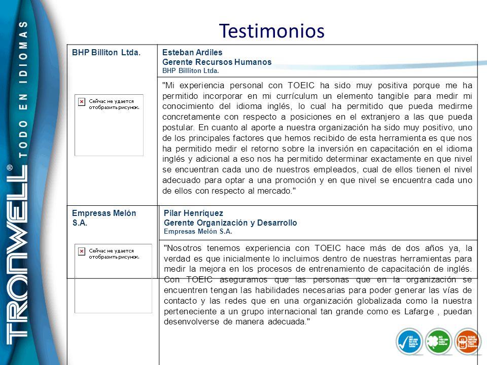 Testimonios BHP Billiton Ltda. Esteban Ardiles Gerente Recursos Humanos BHP Billiton Ltda.