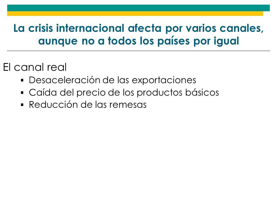 La crisis internacional afecta por varios canales, aunque no a todos los países por igual