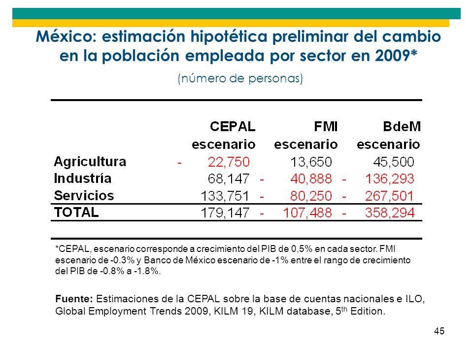 México: estimación hipotética preliminar del cambio en la población empleada por sector en 2009* (número de personas)